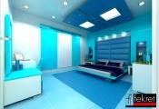 Trang trí phòng ngủ quyến rũ với màu xanh