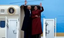 Bà Obama khóc suốt 30 phút trong chuyến bay cuối cùng trên Không lực Một
