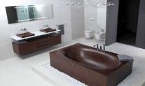 Thanh lịch và sang trọng với bồn tắm bằng gỗ