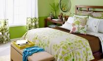 Phòng ngủ dịu mát với gam màu xanh lá cây
