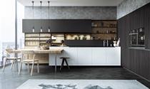 Nhà bếp thanh lịch với gỗ và hai màu đen - trắng