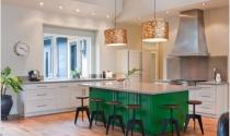 Trang trí nhà bếp với màu xanh dịu mát