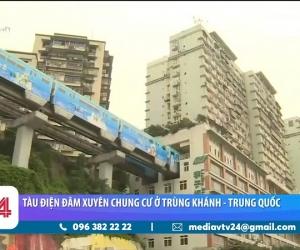 Đoàn tàu đi xuyên tòa nhà chung cư ở Trung Quốc