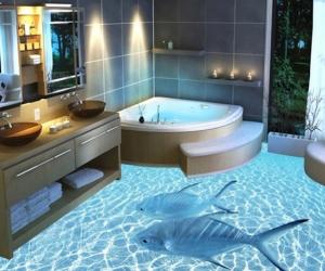 Ngôi nhà mát mẻ với sàn 3D chủ đề biển cả