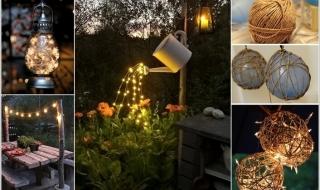 Sân vườn lung linh với ánh sáng tự làm đơn giản