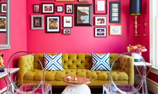 Trang trí phòng khách với màu hồng ấn tượng