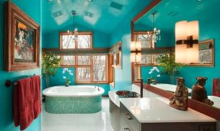 Phòng tắm thêm quyến rũ với màu xanh ngọc