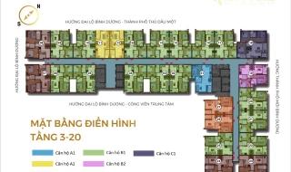 Mặt bằng chi tiết dự án căn hộ Happy One Bình Dương