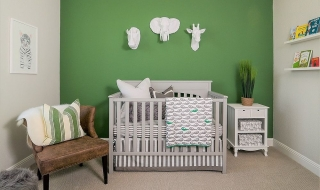 Thiết kế phòng ngủ cho bé với sắc xanh