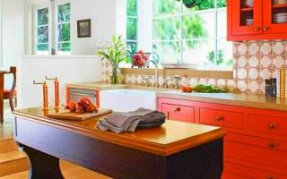 Nhà bếp hiện đại với ý tưởng sơn màu cam