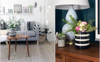 Phòng khách độc đáo hơn với họa tiết kẻ sọc