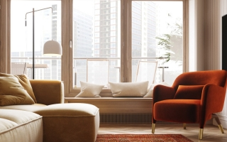 Căn nhà với nội thất có tông màu ấm áp
