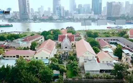 Nhìn từ trên cao cụm nhà thờ tôn giáo lạc lõng giữa khu đô thị Thủ Thiêm