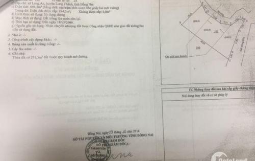 Cần bán 694m2 Đất nền Nông Nghiệp, Thổ Cư CHÍNH CHỦ - Long Thành - Đồng Nai