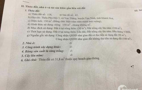 Bán lô 200m2 mặt đường Nguyễn Huệ,Vạn Thắng, Van Ninh,Khánh Hòa