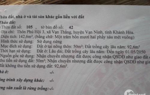 Lô đất 142,6m2 mặt đường Nguyễn Huê, Vạn Ninh, Khánh Hòa LH:0936366362