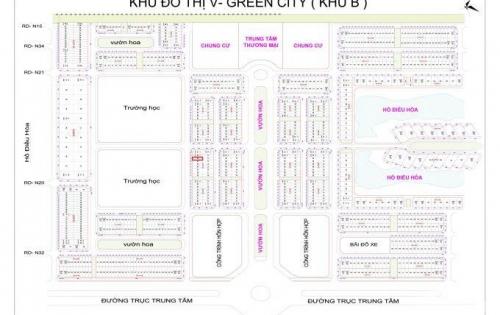 Bán gấp lô 102m2 ngay cổng trường cấp 2 V-Green City, LH:0974.961.722