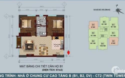 Chính chủ bán lại căn góc 2PN, (67m2), tòa B1B2 Tây Nam Linh Đàm. LH: 0968.595.532