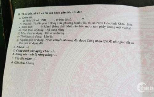 Bán nhanh 148m2 đất mặt biển Dốc Lếch, Nam Vân Phong, Giá rẻ, sổ hồng cầm tay.