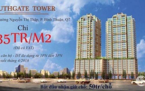 South Gate Tower Hồng Hà, Q.7, 35tr/m2 (đã có VAT), giữ chỗ 50tr