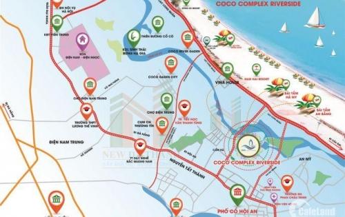 Đất nền dự án coco complex riverside mặt tiền sông cổ cò đối diện bãi tắm hà my 500m