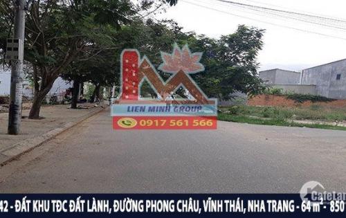 Bán đất giá rẻ đối diện công viên khu TĐC Đât Lành, Vĩnh Thái, Nha Trang