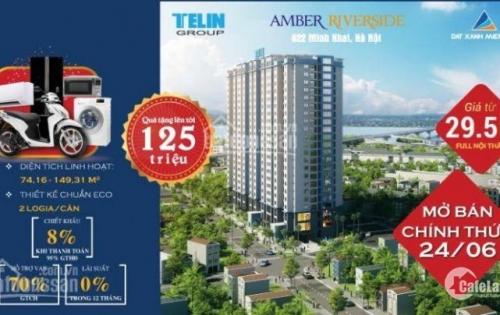 Qùa tặng trị giá 125 triêu, CK 30-60 triệu + 8% GTCH khi đặt mua Amber Riverside 622 Minh Khai, LH 0977804898