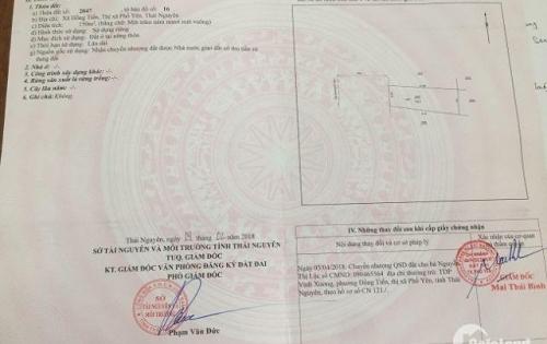 Cần bán thửa đất số 2047. Địa chỉ xã Hồng Tiến, Phổ Yên, Thái Nguyên. Diện tích: 150m2.1 tỷ 250tr