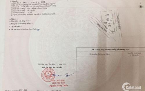 Cần bán mảnh đất gần Samsung, gần chợ Ba Hàng khu Tân Hòa, Đồng Tiến, Phổ Yên. Diện tích: 343m2. Giá: 6,5 triệu.