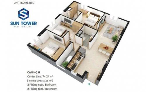 Bán căn hộ Sky 9, Quận 9 DT 65m2 có 2PN, 2WC. giá chỉ 1 tỷ 350tr. LH 0947146635
