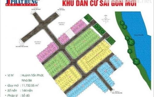 Kẹt tiền cần bán gấp lô đất dự án Sài Gòn Mới, đường Huỳnh Tấn Phát DT 50m2. Giá 42.3tr/m2