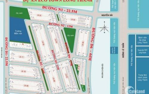 bán đất nền MT đường 44m dự án ECOTOWN long thành khu dân cư hiên hữu,SHR, TC 100% lh 0911272221