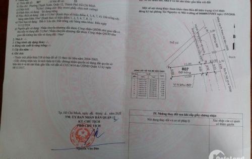 Bán lô đất mặt tiền đường ngay chợ Thạnh Xuân, Q12, có dt 80m2 giá 2,5 tỷ.