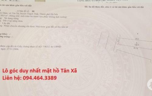 Bán đất mặt hồ Tân Xã - Công nghệ cao Hòa Lạc, Thạch Thất, Hà Nội
