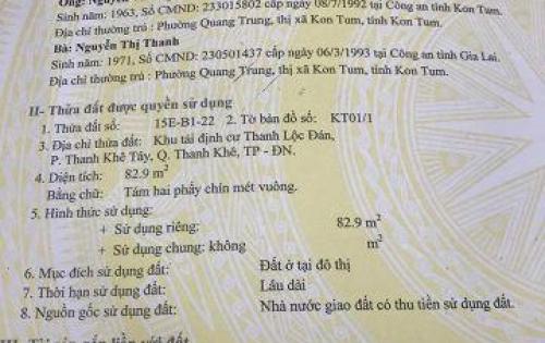Cần bán nhanh lô đất 83m2 đường 7m5 quận Thanh Khê Đà Nẵng