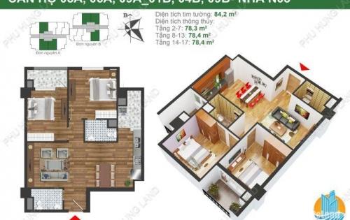 K35 Tân mai – Tòa N03B - Bán gấp căn 78m2 giá 23 triệu/m2 2PN 2VS