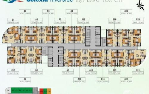 CC Bán gấp tại Geleria Riverside 885 Tam Trinh 2 căn 1820-CT1(89.2m) + 1612-CT2B(70.33m) giá chỉ  17tr/m. LH 0932.326.626