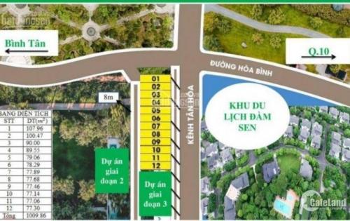 Bán đất 100% thổ cư sát Đầm Sen nước mặt tiền Hòa Bình 78m2,chỉ 60tr/m2,vay NH 80%, LH 0942395549