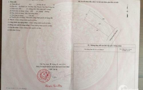 Cần bán lô đất thổ cư huyện Tân Trụ, tỉnh Long An