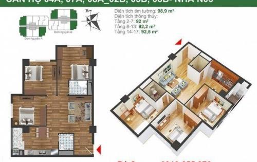 Chính chủ bán căn hộ 92m2, giá 2.2 tỷ, 3 phòng ngủ, 2wc, ngay cạnh hồ đền lừ.