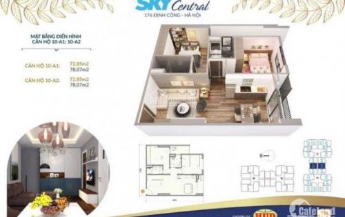 LH: (0964302314) căn hộ 2PN 64m2 giá chỉ 1,7 tỷ dự án Sky Central 176 Định Công
