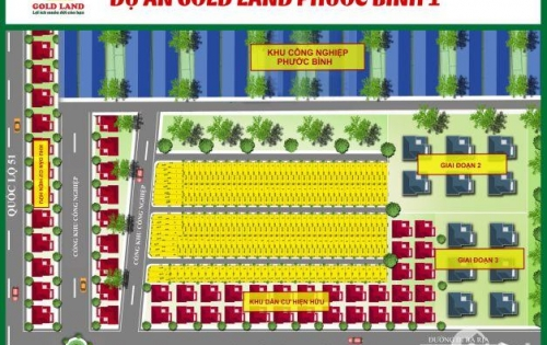 Dự án đất nền GOLD LAND PHƯỚC BÌNH 1, giá 3-3.6tr/m2. Sinh lời 26%/12 tháng.