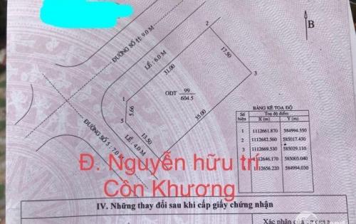 Bán nền biệt thự góc 2 mặt tiền đường nguyễn hữu trí, cồn khương, vạn phát, phường cái khế, quận ninh kiều