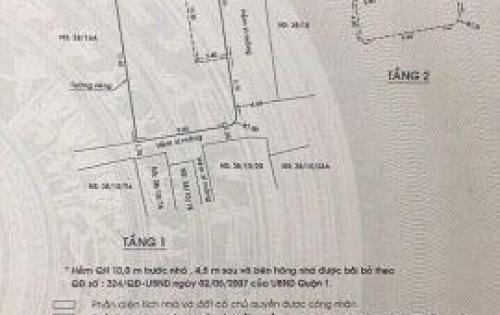 Villa HXH 6m 38/16B đường Trần Khắc Chân, P Tân Định, Q1. Nhà góc 3 MT, hẻm hông 4m, hẻm sau 2m.DT: 10.6x19m, trệt 1 lầu, giá 41,5 tỷ