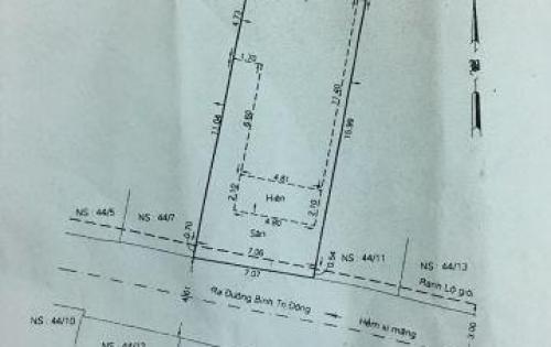 Bán nhà hẻm một / ngay chợ Bình Trị Đông cũ, Diện tích: 7x17.