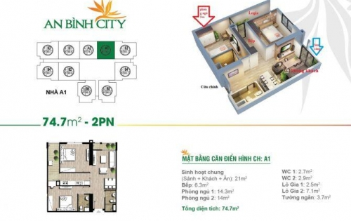 Chính chủ cần bán nhanh căn hộ 2 ngủ - 74m2 tại An Bình City.