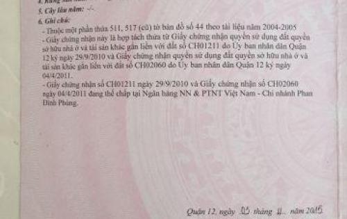 Đất chính chủ 1 sẹt Tô Ngọc Vân Q12, 5x16m, shr, giá: 2.55 tỷ. LH: 0938 957 356