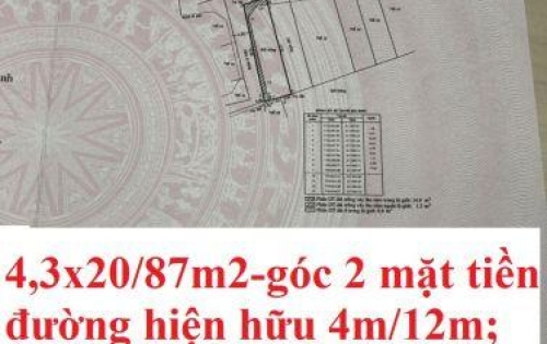 Bán Đất 2 mặt tiền hiện hữu 87m2  phường Cát Lái