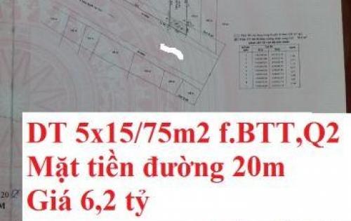 Bán Đất hẻm 6 m quận 2 tp HCM