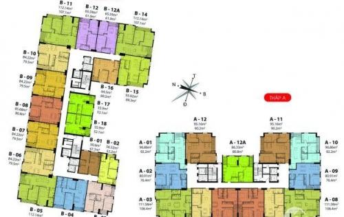 Cắt lỗ căn 12A tòa A Hateco Hoàng Mai 86m2 giá 1,64 tỷ full nội thất